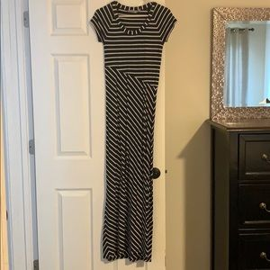 Navy and White striped T-Shirt Maxi Dress